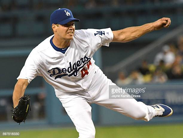 Rich Hill of the Los Angeles Dodgers during the game against the San Francisco Giants at Dodger Stadium on August 24 2016 in Los Angeles California