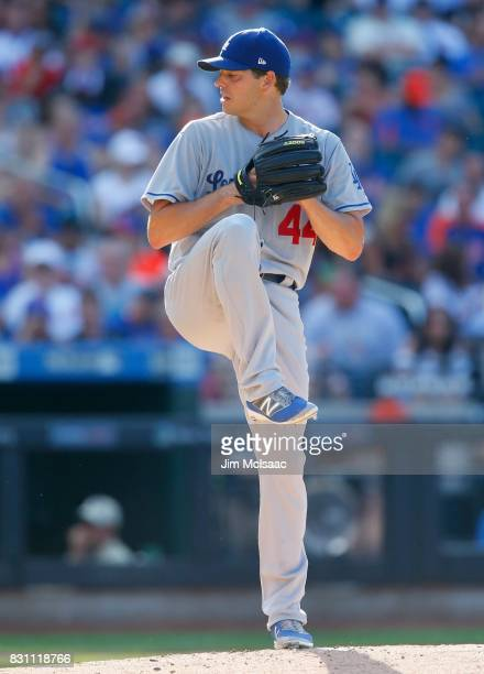 Rich Hill of the Los Angeles Dodgers in action against the New York Mets at Citi Field on August 5 2017 in the Flushing neighborhood of the Queens...