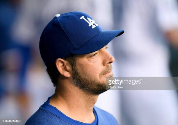 Rich Hill of the Los Angeles Dodgers in the dugout before the game against the Arizona Diamondbacks at Dodger Stadium on July 03, 2019 in Los...