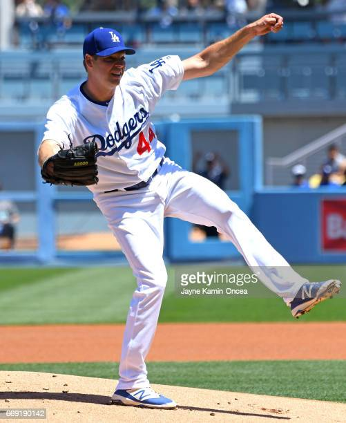 Rich Hill of the Los Angeles Dodgers in the first inning of the game against the Arizona Diamondbacks at Dodger Stadium on April 16 2017 in Los...