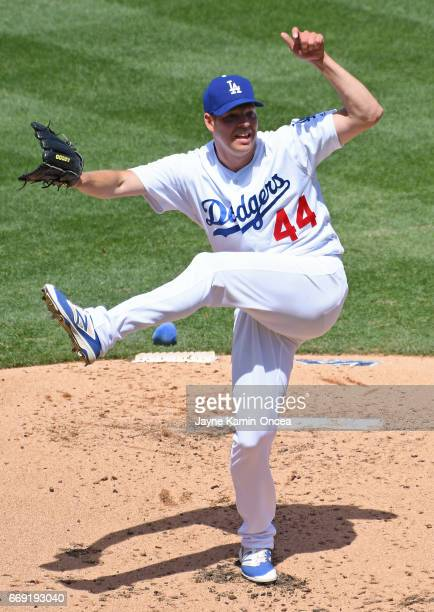 Rich Hill of the Los Angeles Dodgers in the second inning of the game against the Arizona Diamondbacks at Dodger Stadium on April 16 2017 in Los...