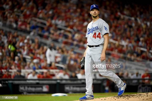 Rich Hill of the Los Angeles Dodgers looks on against the Washington Nationals in Game Four of the National League Division Series at Nationals Park...