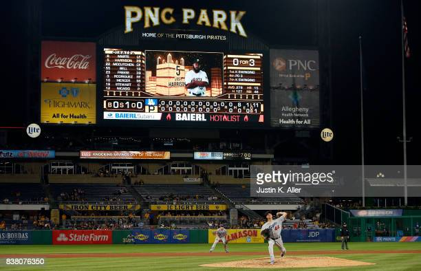 Rich Hill of the Los Angeles Dodgers pitches a no hitter into the tenth inning against the Pittsburgh Pirates at PNC Park on August 23 2017 in...