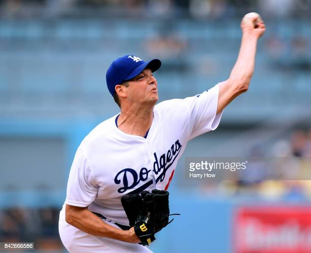 Rich Hill of the Los Angeles Dodgers pitches against the Arizona Diamondbacks at Dodger Stadium on September 4 2017 in Los Angeles California