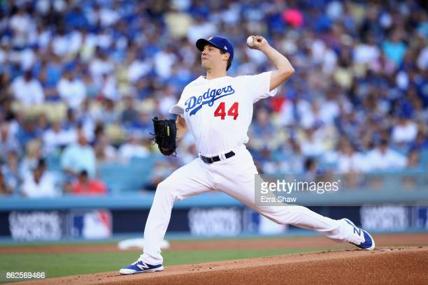 Rich Hill of the Los Angeles Dodgers pitches against the Chicago Cubs during Game Two of the National League Championship Series at Dodger Stadium on...