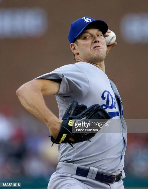 Rich Hill of the Los Angeles Dodgers pitches against the Detroit Tigers during the second inning at Comerica Park on August 18 2017 in Detroit...
