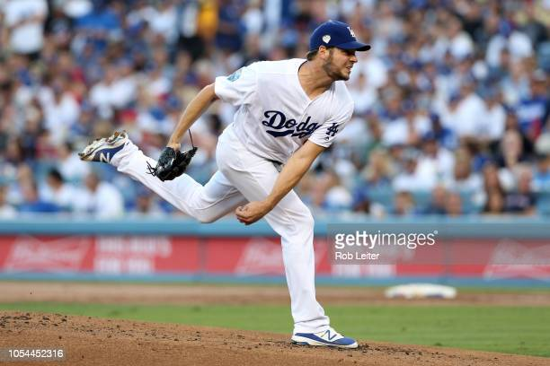 Rich Hill of the Los Angeles Dodgers pitches during Game 4 of the 2018 World Series against the Boston Red Sox at Dodger Stadium on Saturday October...