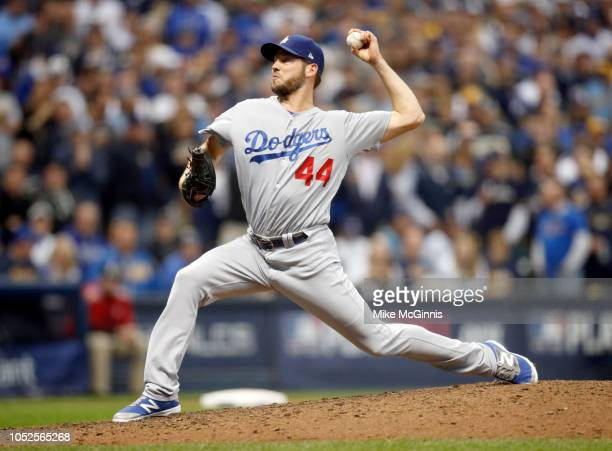Rich Hill of the Los Angeles Dodgers pitches during Game 6 of the NLCS against the Milwaukee Brewers at Miller Park on Friday October 2018 in...