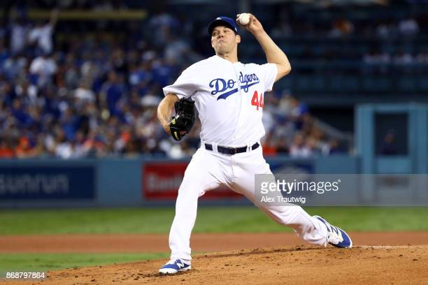 Rich Hill of the Los Angeles Dodgers pitches during Game 6 of the 2017 World Series against the Houston Astros at Dodger Stadium on Tuesday October...