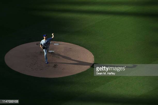Rich Hill of the Los Angeles Dodgers pitches during the first inning of a game against the San Diego Padres at PETCO Park on May 04, 2019 in San...