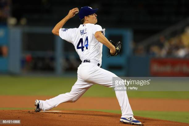 Rich Hill of the Los Angeles Dodgers pitches during the first inning of a game against the San Diego Padres at Dodger Stadium on September 27 2017 in...