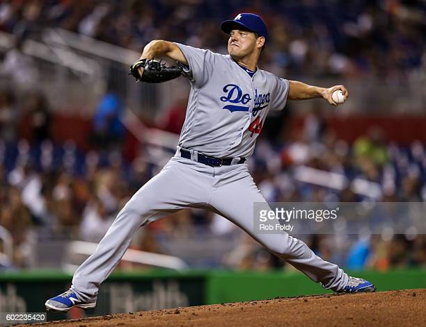 Rich Hill of the Los Angeles Dodgers pitches during the second inning of the game against the Miami Marlins at Marlins Park on September 10 2016 in...