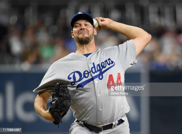 Rich Hill of the Los Angeles Dodgers pitches during the the first inning of a baseball game against the San Diego Padres at Petco Park September 24,...