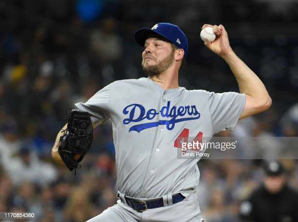 Rich Hill of the Los Angeles Dodgers pitches during the the second inning of a baseball game against the San Diego Padres at Petco Park September 24,...