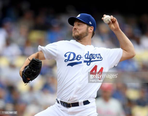 Rich Hill of the Los Angeles Dodgers pitches during the third inning against the Philadelphia Phillies at Dodger Stadium on June 02 2019 in Los...