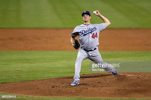 Rich Hill of the Los Angeles Dodgers pitches during the third inning of the game against the Miami Marlins at Marlins Park on September 10 2016 in...