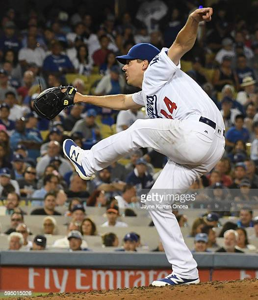 Rich Hill of the Los Angeles Dodgers pitches in the fifth inning of the game against the San Francisco Giants at Dodger Stadium on August 24 2016 in...
