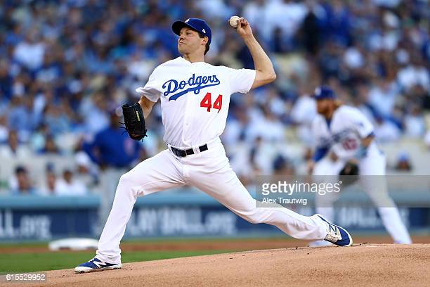Rich Hill of the Los Angeles Dodgers pitches in the first inning during Game 3 of the NLCS against the Chicago Cubs at Dodger Stadium on Tuesday...