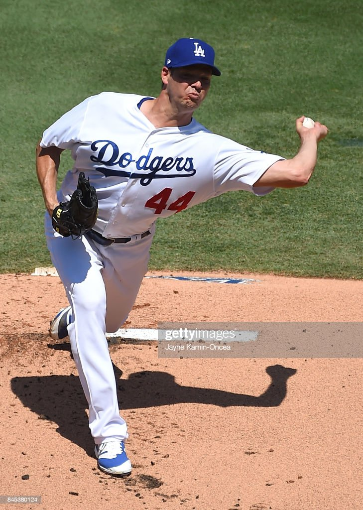 Rich Hill #44 of the Los Angeles Dodgers pitches in the first inning of the game against the Colorado Rockies at Dodger Stadium on September 10, 2017 in Los Angeles, California.