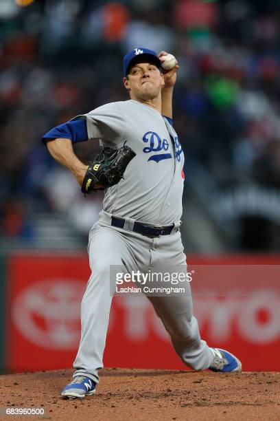 Rich Hill of the Los Angeles Dodgers pitches in the first inning against the San Francisco Giants at ATT Park on May 16 2017 in San Francisco...