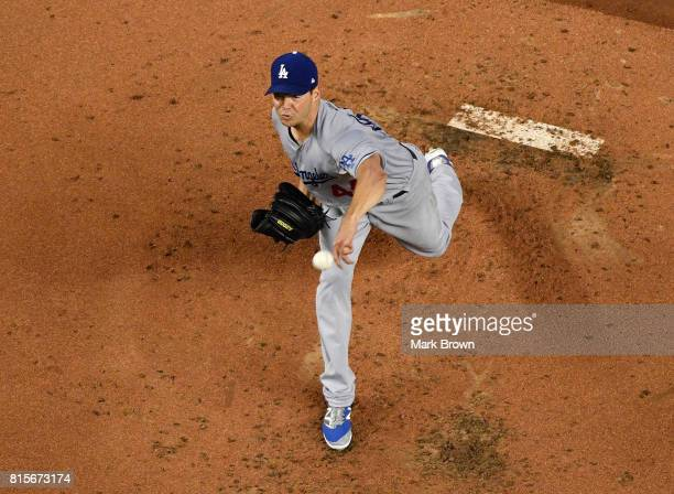 Rich Hill of the Los Angeles Dodgers pitches in the first inning during the game between the Miami Marlins and the Los Angeles Dodgers at Marlins...