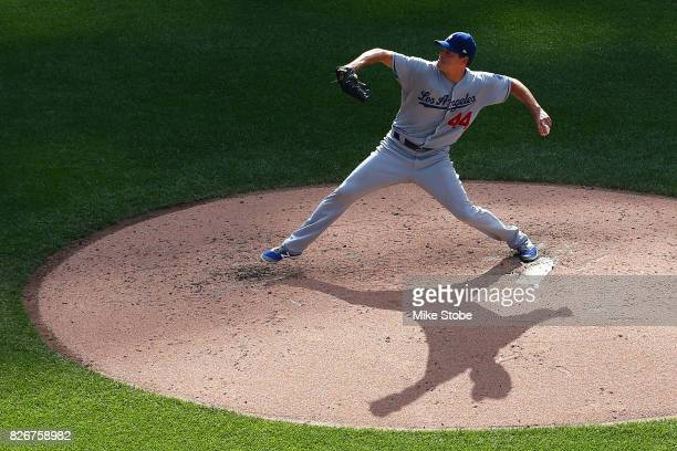 Rich Hill of the Los Angeles Dodgers pitches in the fourth inning against the New York Mets at Citi Field on August 5 2017 in the Flushing...