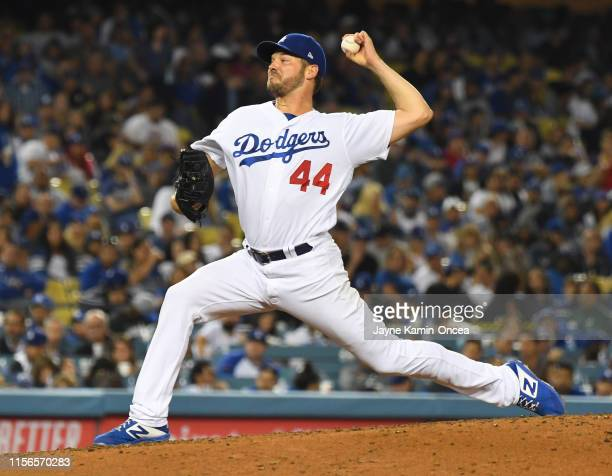 Rich Hill of the Los Angeles Dodgers pitches in the game against the Chicago Cubs at Dodger Stadium on June 14 2019 in Los Angeles California