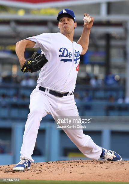 Rich Hill of the Los Angeles Dodgers pitches in the game against the Arizona Diamondbacks at Dodger Stadium on April 14 2018 in Los Angeles California