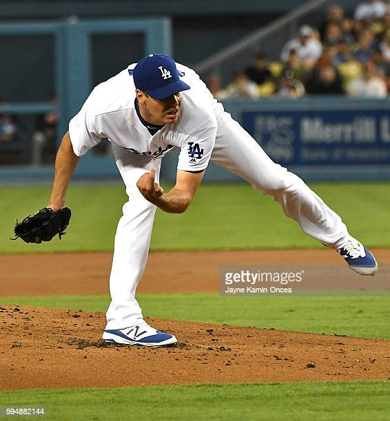 Rich Hill of the Los Angeles Dodgers pitches in the second inning of the game against the San Francisco Giants at Dodger Stadium on August 24 2016 in...