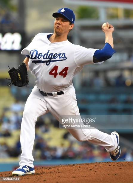 Rich Hill of the Los Angeles Dodgers pitches in the second inning of the game against the St Louis Cardinals at Dodger Stadium on May 24 2017 in Los...
