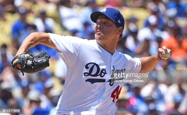 Rich Hill of the Los Angeles Dodgers pitches in the second inning of the game against the San Francisco Giants at Dodger Stadium on July 29 2017 in...