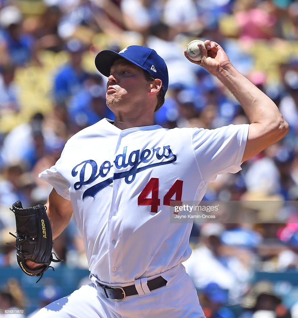 Rich Hill #44 of the Los Angeles Dodgers pitches in the second inning of the game against the San Francisco Giants at Dodger Stadium on July 29, 2017 in Los Angeles, California.