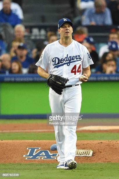 Rich Hill of the Los Angeles Dodgers reacts during the first inning against the Houston Astros game six of the 2017 World Series at Dodger Stadium on...