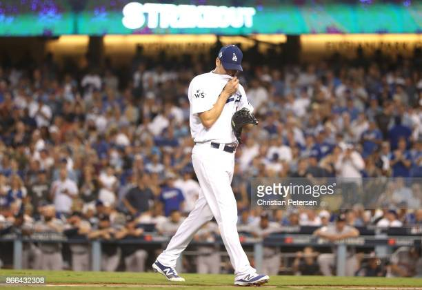 Rich Hill of the Los Angeles Dodgers reacts during the fourth inning against the Houston Astros in game two of the 2017 World Series at Dodger...