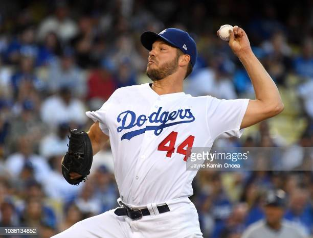 Rich Hill of the Los Angeles Dodgers throws in the first inning of the game against the San Diego Padres at Dodger Stadium on September 22 2018 in...