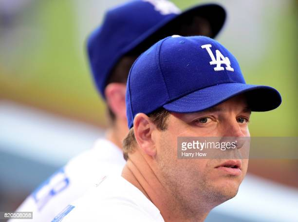 Rich Hill of the Los Angeles Dodgers waits for the start of the game against the Atlanta Braves at Dodger Stadium on July 21 2017 in Los Angeles...