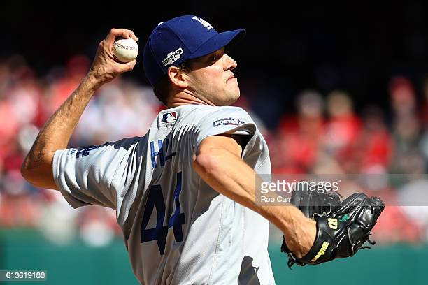 Rich Hill of the Los Angeles Dodgers works against the Washington Nationals in the second inning during game two of the National League Division...