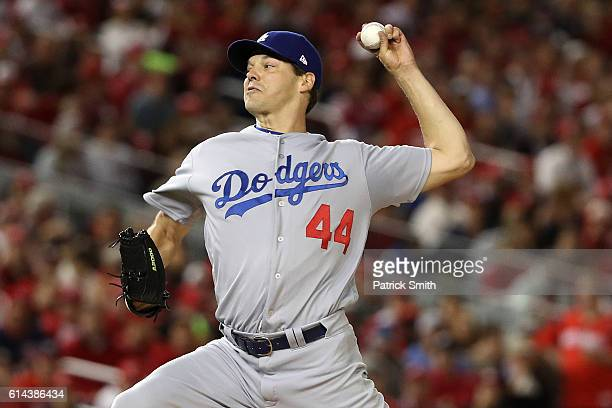Rich Hill of the Los Angeles Dodgers works against the Washington Nationals in the third inning during game five of the National League Division...