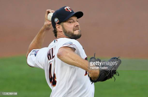 Rich Hill of the Minnesota Twins delivers a pitch against the Chicago White Sox during the first inning of the game at Target Field on August 31,...