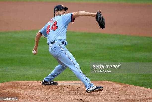 Rich Hill of the Minnesota Twins delivers a pitch against the Detroit Tigers during the first inning of the game at Target Field on September 6, 2020...