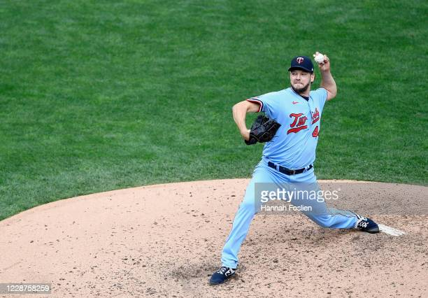 Rich Hill of the Minnesota Twins delivers a pitch against the Cincinnati Reds during the sixth inning of the game at Target Field on September 27,...