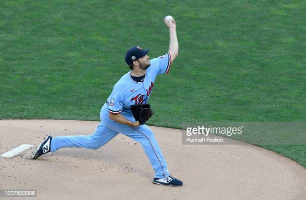 Rich Hill of the Minnesota Twins delivers a pitch against the St. Louis Cardinals during the first inning of the game at Target Field on July 29,...