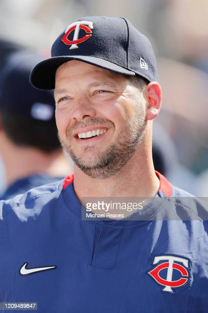 Rich Hill of the Minnesota Twins looks on against the Philadelphia Phillies during a Grapefruit League spring training game at Hammond Stadium on...