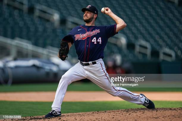 Rich Hill of the Minnesota Twins pitches during a summer camp workout on July 6, 2020 at Target Field in Minneapolis, Minnesota.