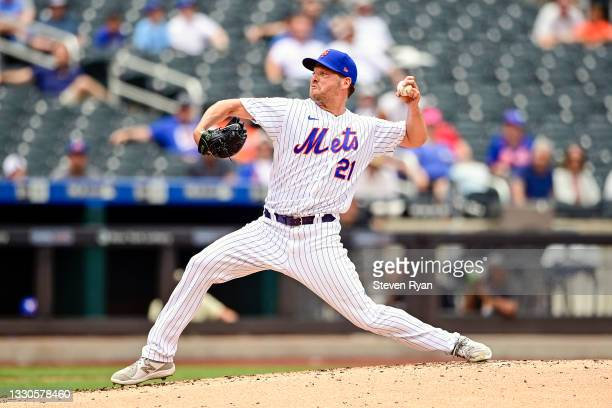 Rich Hill of the New York Mets delivers the pitch against the Toronto Blue Jays during the second inning at Citi Field on July 25, 2021 in the Queens...
