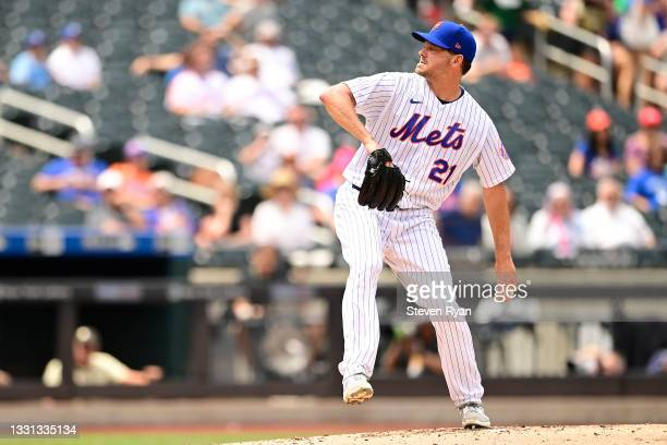 Rich Hill of the New York Mets delivers the pitch against the Toronto Blue Jays at Citi Field on July 25, 2021 in the Queens borough of New York City.