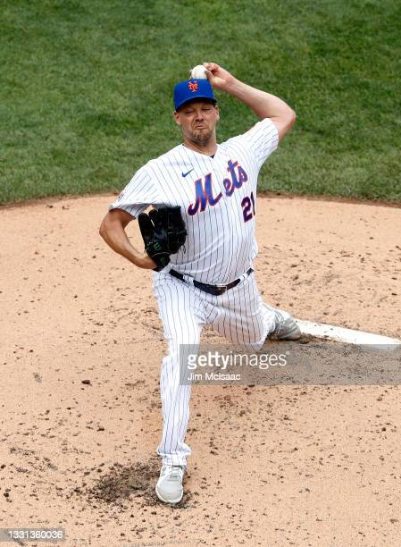 Rich Hill of the New York Mets in action against the Toronto Blue Jays at Citi Field on July 25, 2021 in New York City. The Mets defeated the Blue...