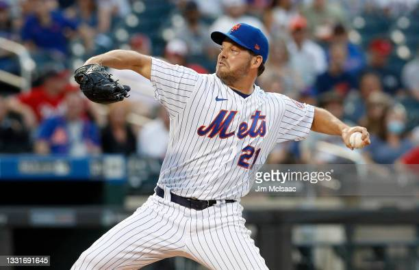 Rich Hill of the New York Mets pitches during the first inning against the Cincinnati Reds at Citi Field on July 31, 2021 in New York City.