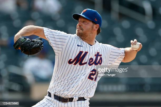 Rich Hill of the New York Mets pitches during the fourth inning against the Washington Nationals at Citi Field on August 11, 2021 in New York City....