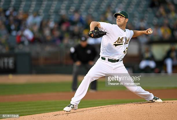 Rich Hill of the Oakland Athletics pitches against the Kansas City Royals in the top of the first inning at Oco Coliseum on April 15 2016 in Oakland...